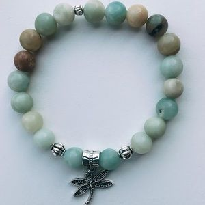 Dragonfly Natural Tan Green Blue Bead Bracelet